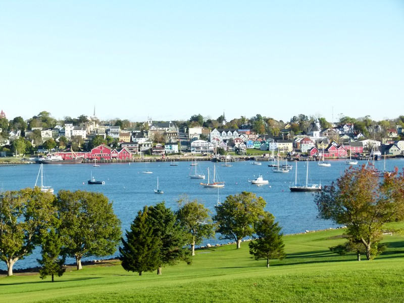 A view of Lunenburg historical town from across the harbour.