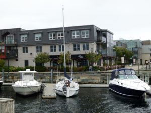 The Bicycle Thief restaurant viewed from the water in Halifax harbour, Nova Scotia.