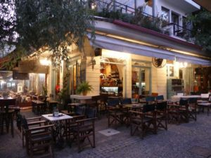 Dinner after dusk in a Serres restaurant, al fresco